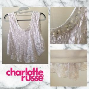 Charlotte Russe Lace White Crop Top